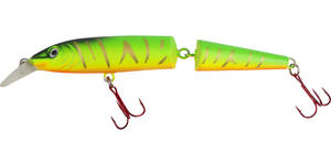 Warbird Minnow jointed 13cm gul/orange/svart/grön/ guld stripes