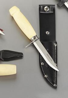 Kniv rostfri med träskaft parerstång och läderslida