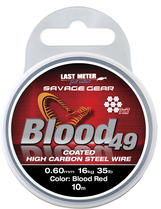 Savage Gear Blood49 0.60mm 16kg 35lb Coated Red 10m