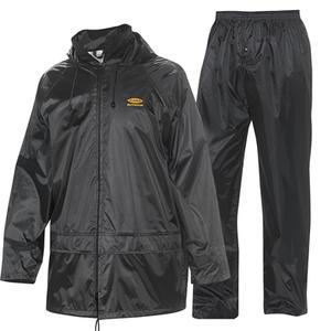 Rainsuit 911 black polyester & PVC coating jacket & trousers M